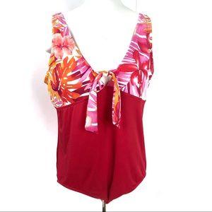 Bleu Ice Red Orange One piece swimsuit Size 22